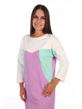 Сорочка женская футер с начесом 6.110 сиреневый/ментоловый