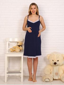 Сорочка для беременных и кормящих с кружевом 8.118 синий