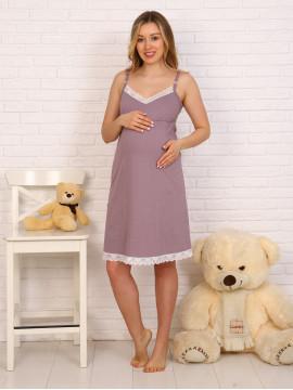 Сорочка для беременных и кормящих с кружевом 8.118 коричневый